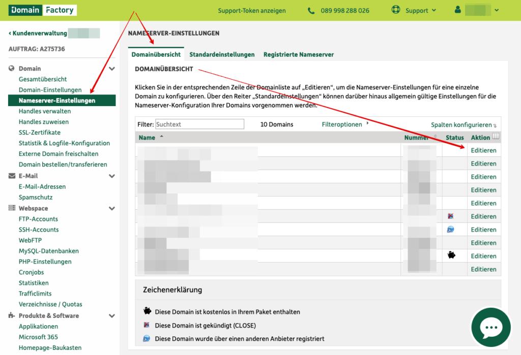 Screenshot: Das Kundencenter - Domainverwaltung