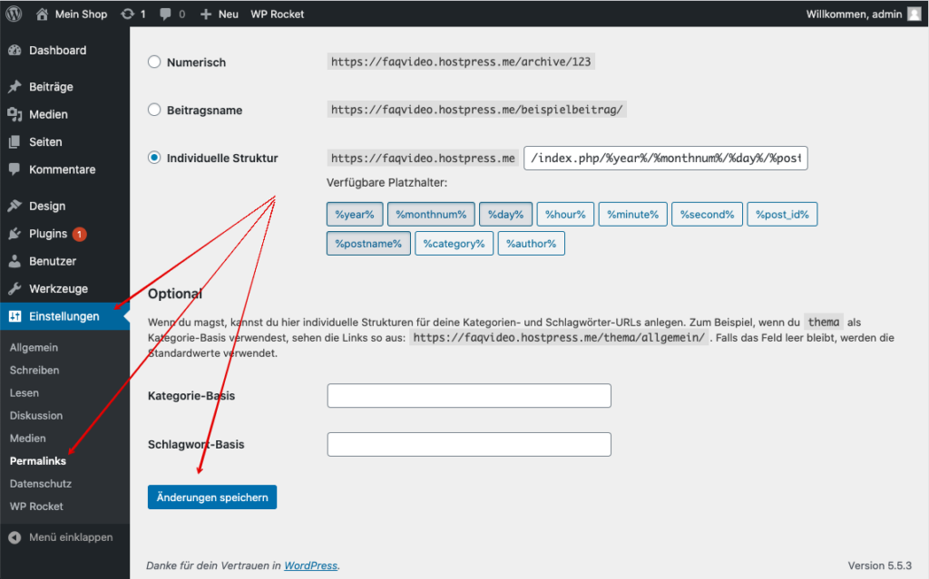 Screenshot: WordPress - Einstellungen - Permalinks